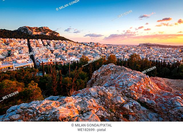 View of Athens and Acropolis from Strefi Hill