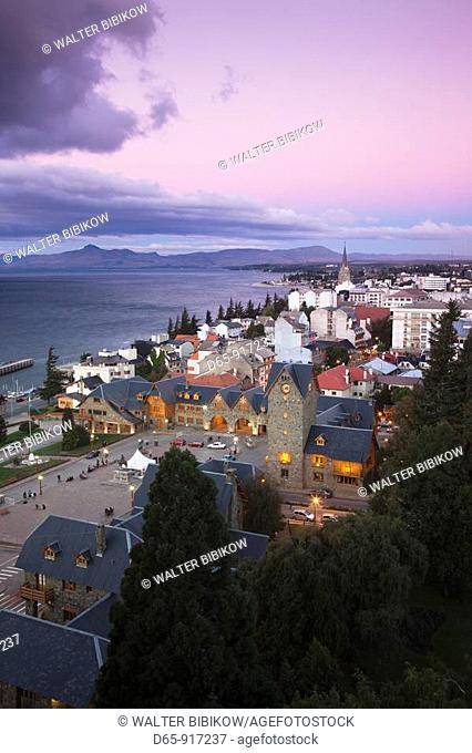 Aerial view of Centro Civico and town in the evening, San Carlos de Bariloche, Lake District, Rio Negro Province, Argentina