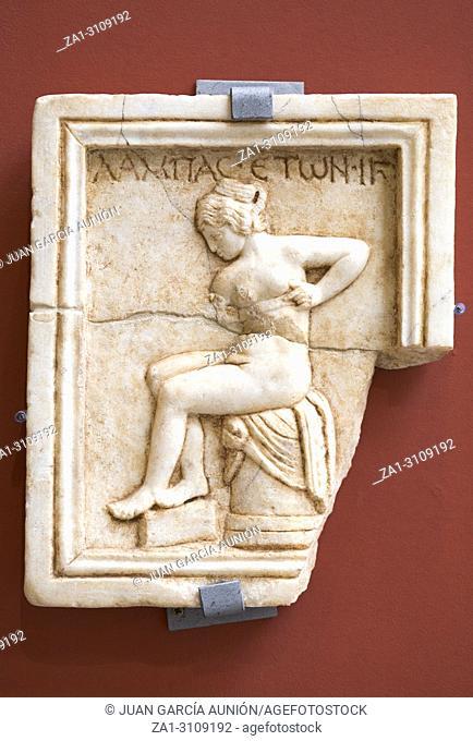 Prostitute relief plaque at National Museum of Roman Art in Merida, Spain