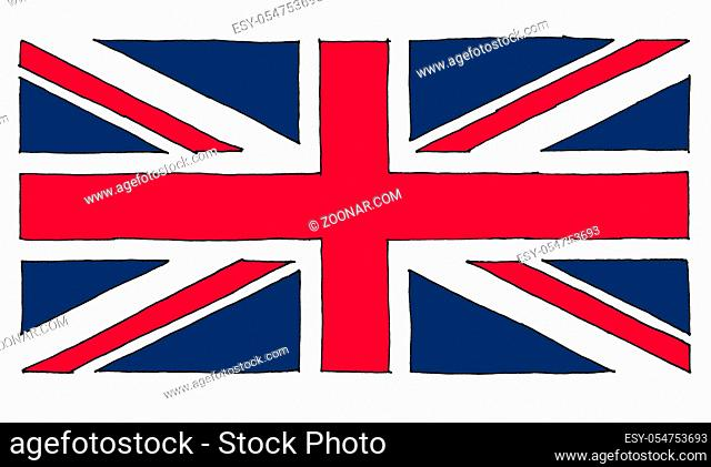 hand drawn national flag of the United Kingdom (UK) aka Union Jack, line art colour filled