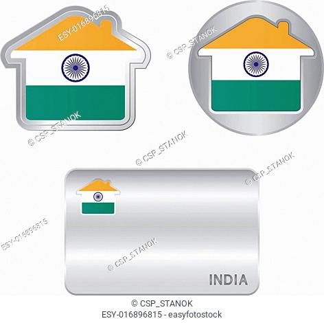 Home icon on the India flag