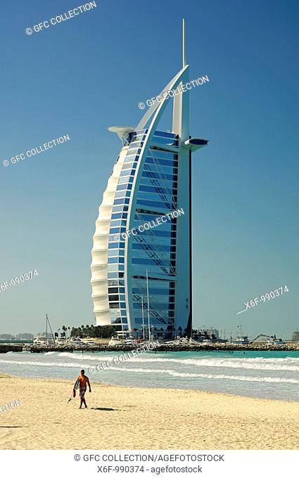 The 7-star Burj al Arab Hotel by the sea, Dubai, United Arab Emirates