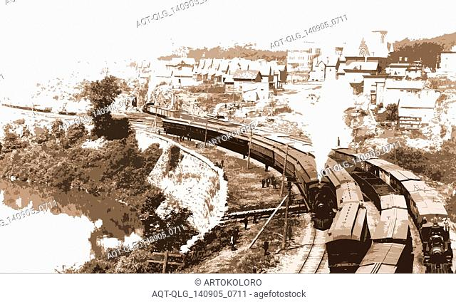 N.Y.C.R.R. New York Central Railroad at Little Falls, Mohawk Valley, N.Y, Jackson, William Henry, 1843-1942, Railroads, Rivers, Valleys, United States