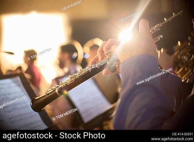 Oboist performing