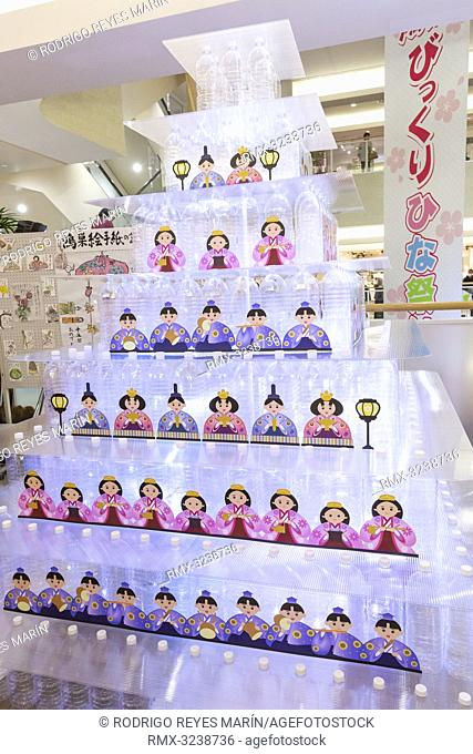 February 20, 2019, Saitama, Japan - A doll pyramid made by plastic bottles is seen at the Elumi Kounosu Shopping Mall in Konosu city
