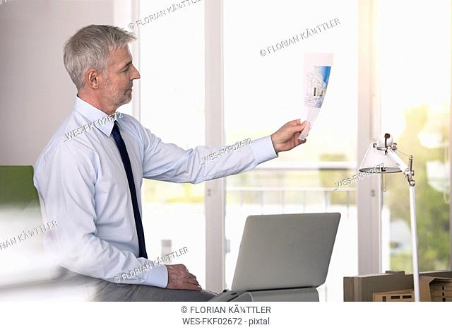 Businessman working in office, looking at picture