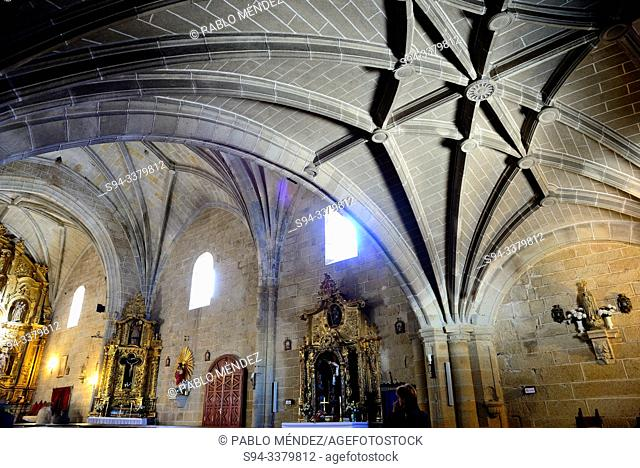 Naves of the church of Our Lady of Asuncion in Malpartida de Caceres, Extremadura, Spain