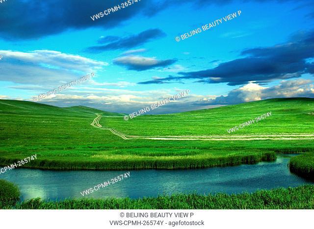 Blue sky and grassy field