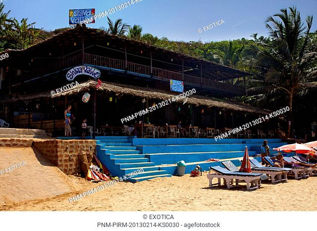 Restaurant on the beach, Shiva Valley, Anjuna, North Goa, Goa, India
