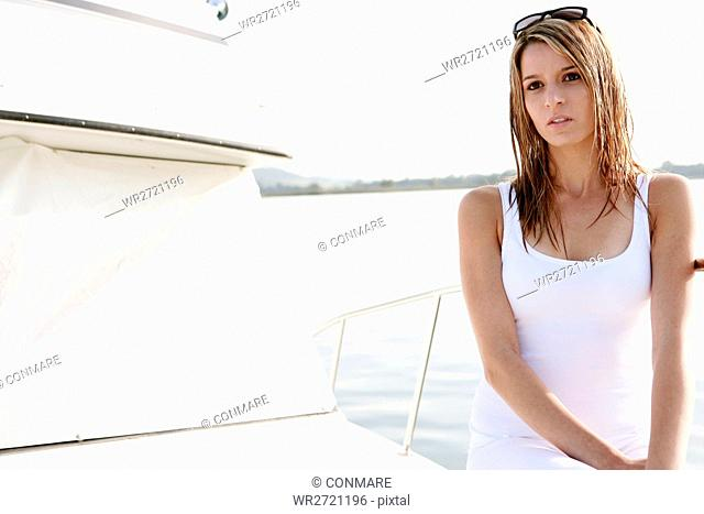 young adult, beauty, relaxing, yacht, trip, casual