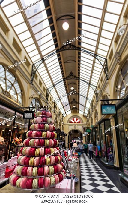 Meringue cake tier display in the Royal Arcade, , Bourke Street, Melbourne, Victoria, Australia