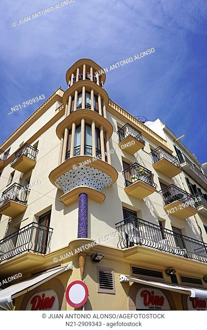 Apartment building on the Seafront Promenade in Sitges, Barcelona, Catalonia, Spain, Europe
