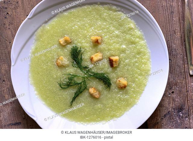 Cold cucumber soup or iced cucumber soup