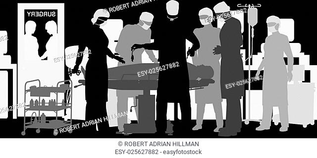 Editable vector illustration of a surgiery in an operating theater