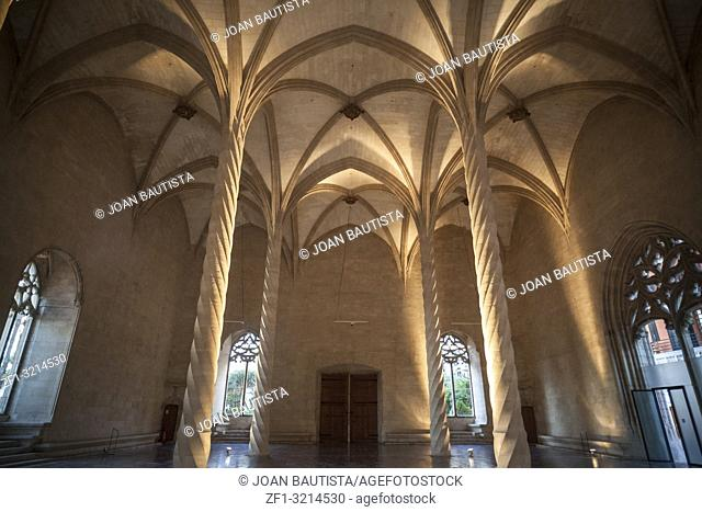 Interior building Sa Llotja, gothic architecture in Palma de Mallorca, Balearic Islands