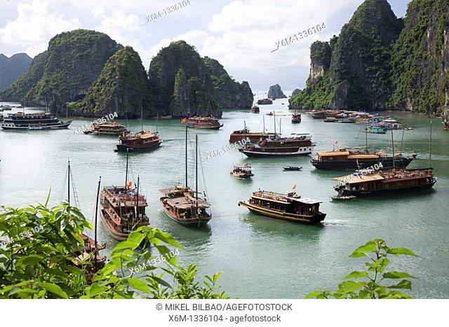 View from Hang Sung Sot Cave  Ha Long Bay  Qung Ninh province, Vietnam