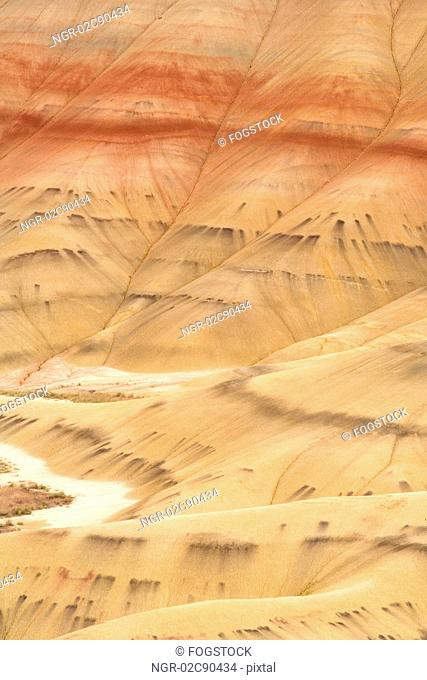 High angle view of barren valley and hills in desert area