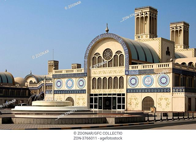 Eingang zum Souq al-Markazi, Der Blaue Suk, Zentralmarkt in Sharjah, Emirat Schardscha, Vereinigte Arabische Emirate, Naher Osten / Entrance to the Souq...