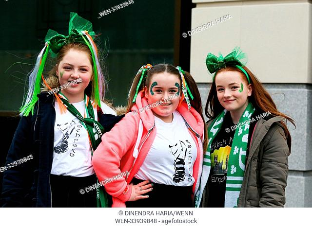Performers prepares for the annual St Patricks Day Parade. Performers take part in the annual St Patricks Day Parade in central London