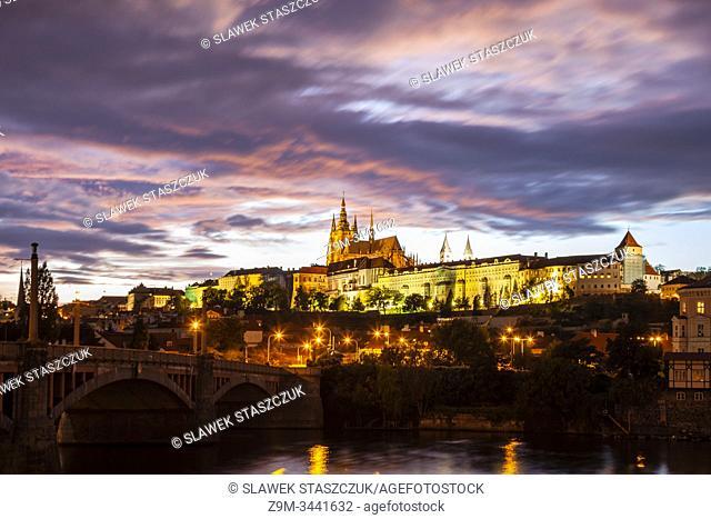 Night falls at Hradcany castle in Prague, Czechia