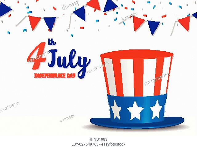 usa retro hat happy 4 july Independence day greeting. vector