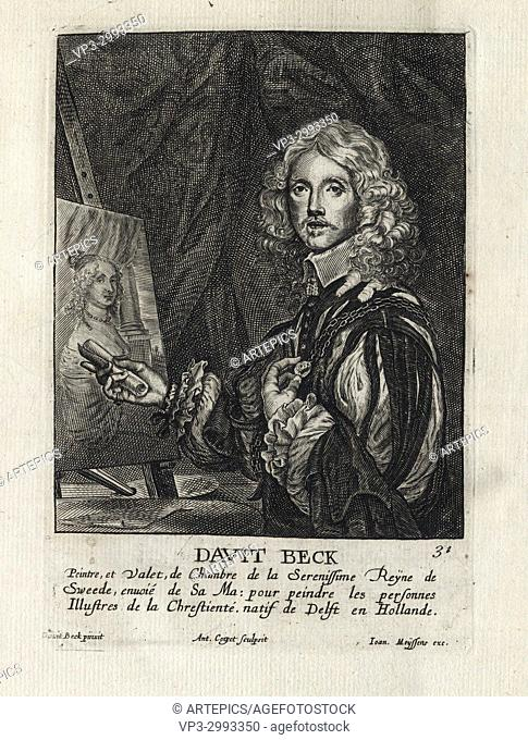 DAVID BECK - Woodcut portrait and short biography (old french language) - Engraving 17th century