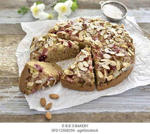 Vegan rhubarb and raspberry almond cake