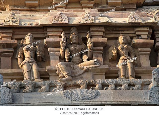 Carvings on Gopura, Deivanayaki Amman shrine, adjacent to Airavatesvara Temple, Darasuram, Tamil Nadu, India. View from West