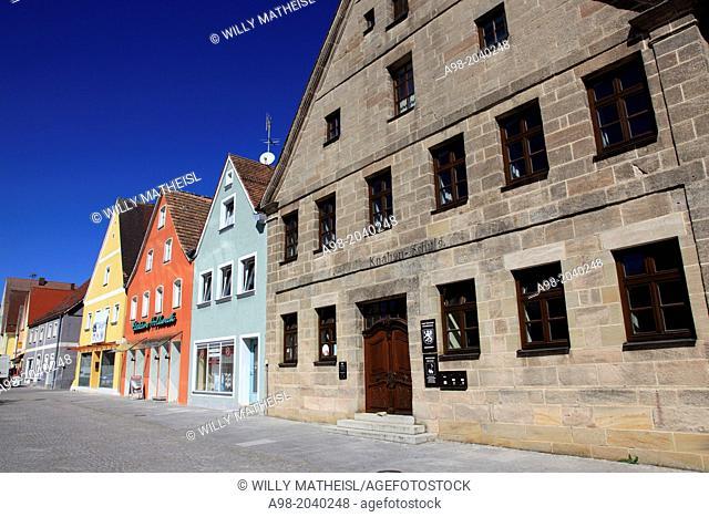 Market square at Freystadt, Middle Franconia, Franconia, Bavaria, Germany