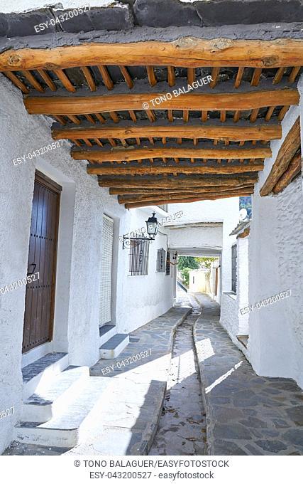Alpujarras street in Granada at Pampaneira village of Andalusia Spain