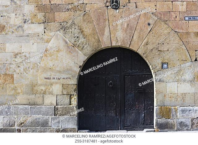 Entrance door to the Torre de los Anaya, called Torre de Abrantes, is a tower-shaped building located in the historic center of Salamanca, Castilla y Leon