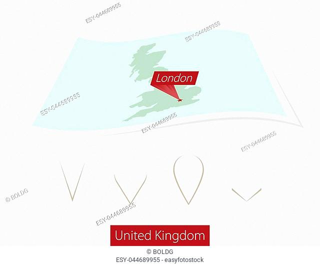 Curved paper map of United Kingdom with capital London on Gray Background. Four different Map pin set. Vector Illustration