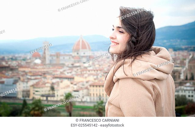 beautiful girl at piazzale michelangelo in firenze, italy