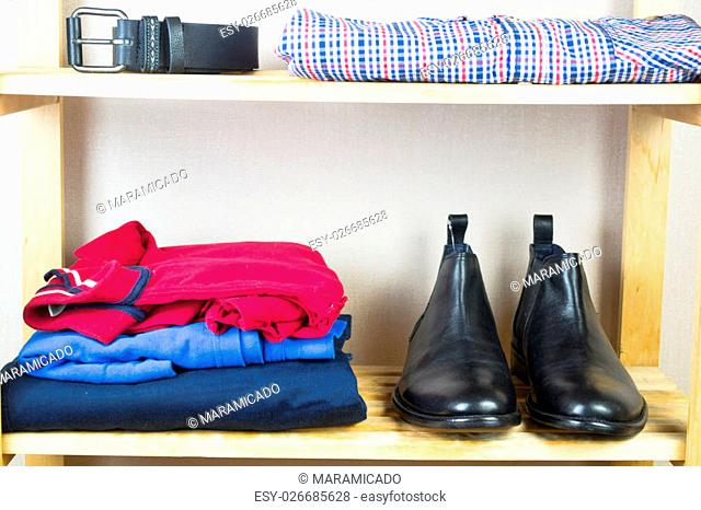 Men's clothes on the shelf