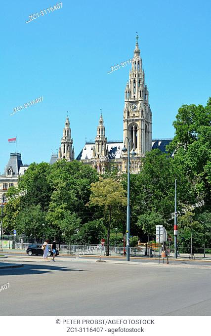 View from the citypark to the Town hall of the Austrian capital Vienna built from 1872 to 1883 - Austria