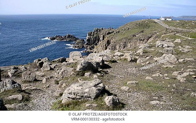 Scenic coastal landscape at Lands End, Cornwall, England, UK