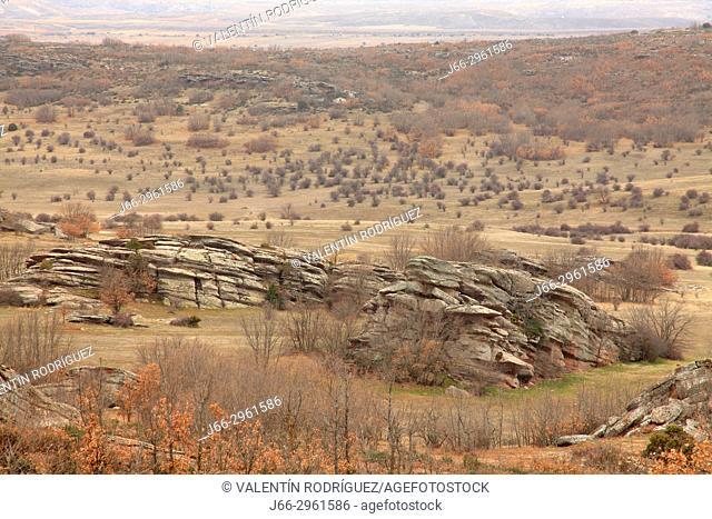 Rocks in the landscape near the castle of Zafra in Campillo de Dueñas. Guadalajara. Castile-La Mancha. Spain