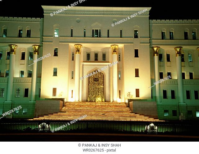 Oman - National bank by night