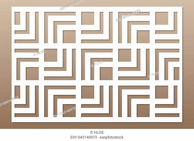 Template for cutting. Geometric line, square pattern. Laser cut. ratio 2:3. Vector illustration