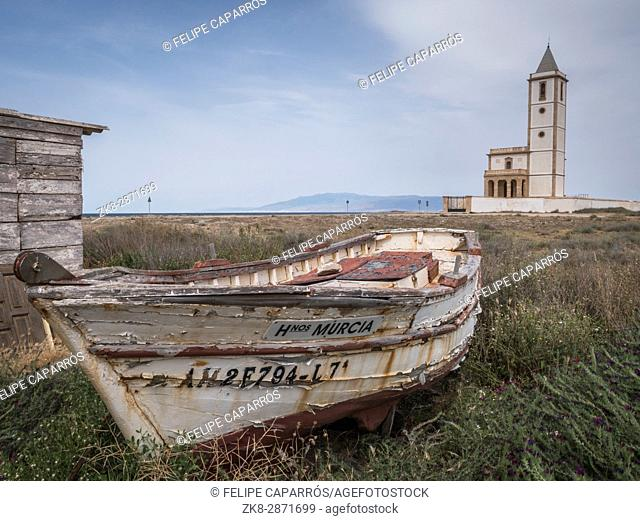 San Miguel Beach and Salinas church with stranded boats, take in Cabo de gata, Almeria, Andalusia, Spain