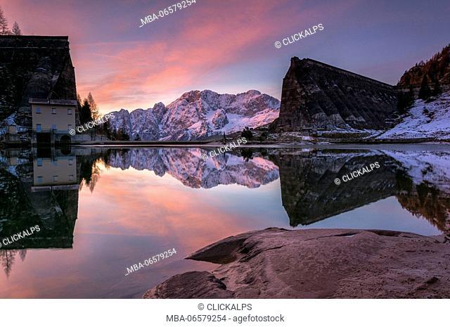 Sunrise in the ruins of Gleno Dam, located in Val di Scalve, province of Bergamo, Italy