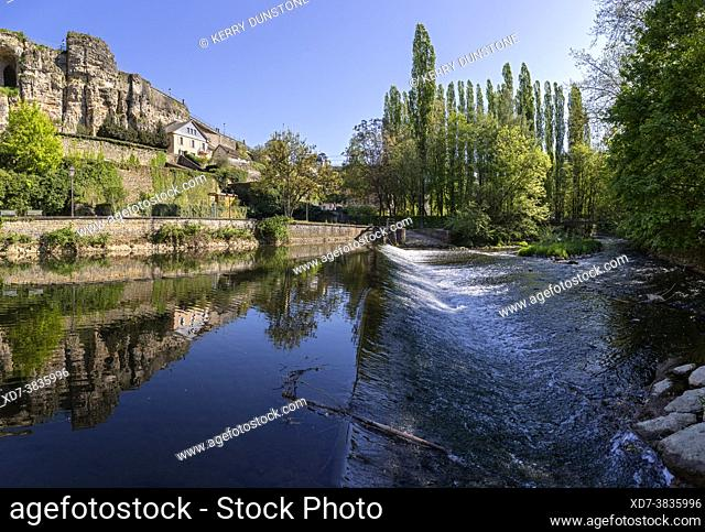 Europe, Luxembourg, Luxembourg City, Weir on the Alzette River below the Casemates du Bock fortifications