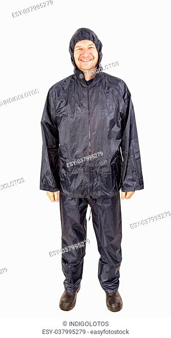 Smiling worker in rain coat. Isolated on a white background