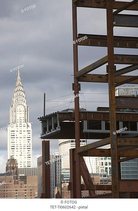 USA, New York State, New York City, Construction site and Chrysler building in background