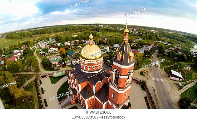 Aerial view of the Trinity church in Karabanovo near Alexandrov in Russia