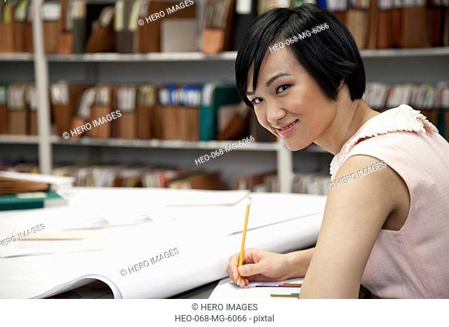 pretty, asian office worker