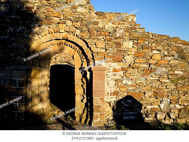 """""""Romanesque Doorway to """"""""""""""""The Great Church of Achadh Da Eo"""""""""""""""" built 1158, in the Monastic Site, Hill of Aghadoe, Killarney National Park, County Kerry"""