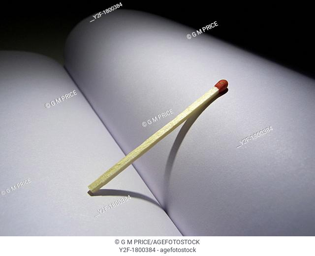 match leaning on fold of blank book