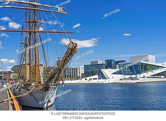 Sailboat and Opera Hall, Oslo, Norway