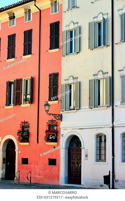 colorful building exteriors in Modena, Italy